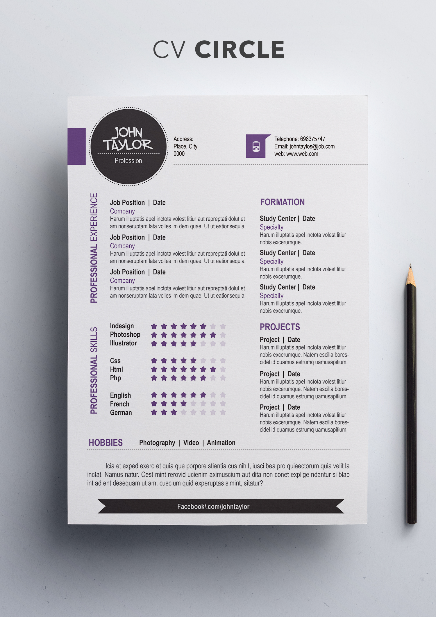 Circle CV Template | ShopCV English