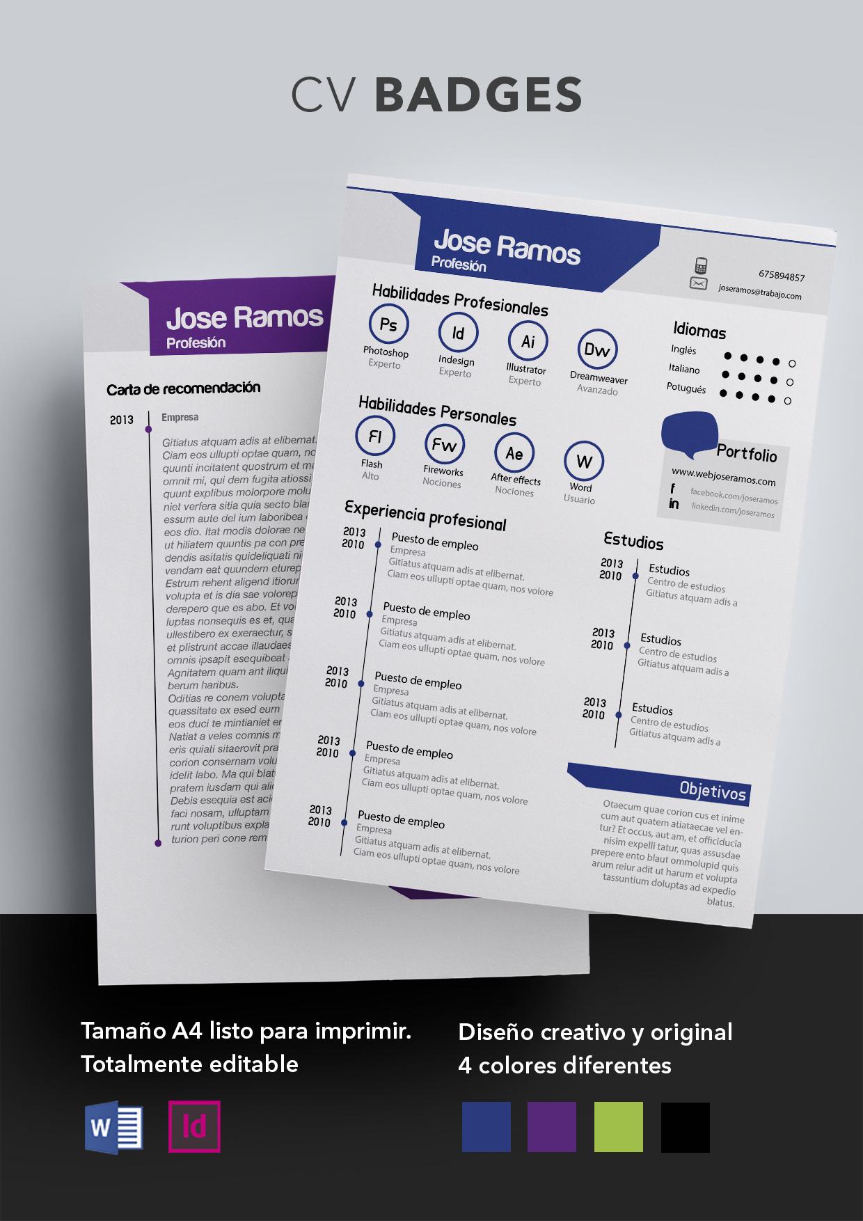 Curriculum Vitae modelo Badges   Plantilla de currículum
