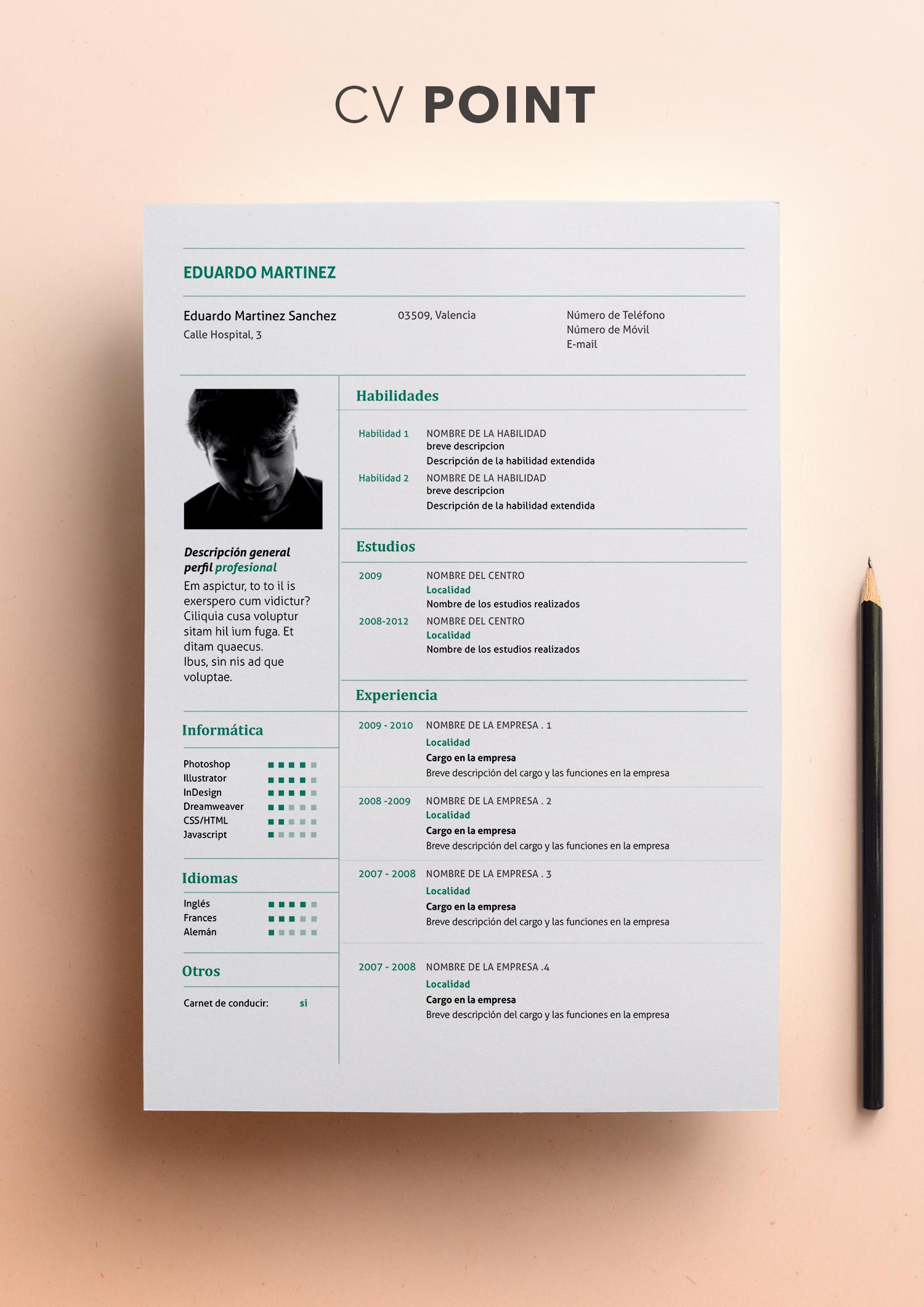 Curriculum Vitae modelo Point | Plantilla de CV | Descargar CV