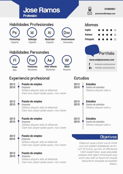 Plantilla CV modelo Badges Azul