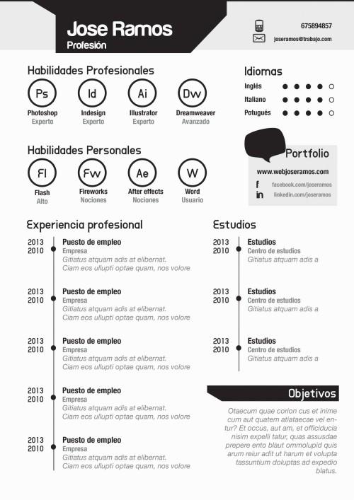 Plantilla CV modelo Badges Negro