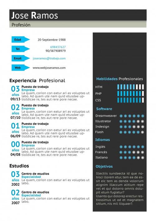 Plantilla CV modelo Block Azul