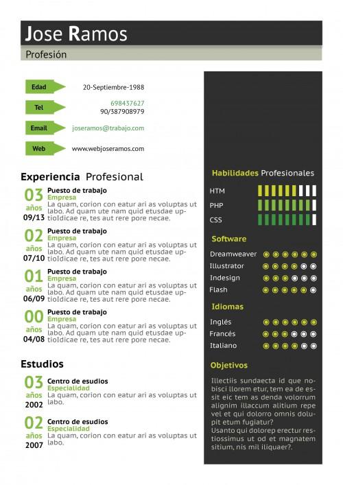 Plantilla CV modelo Block Verde