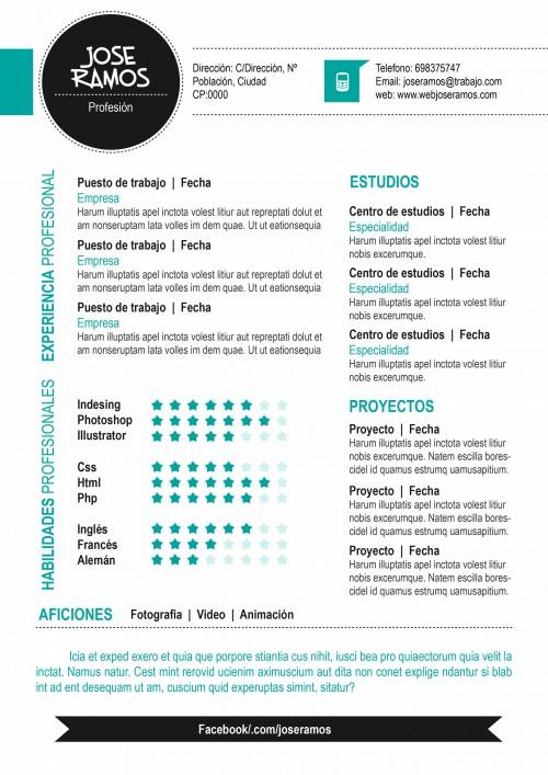 Plantilla CV modelo Circle Azul