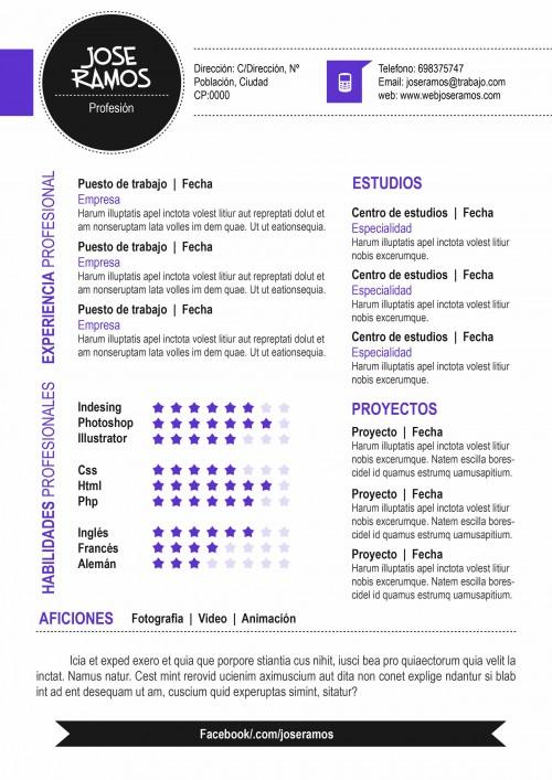 Plantilla CV modelo Circle Morado