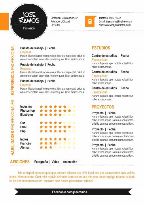 Plantilla CV modelo Circle Naranja