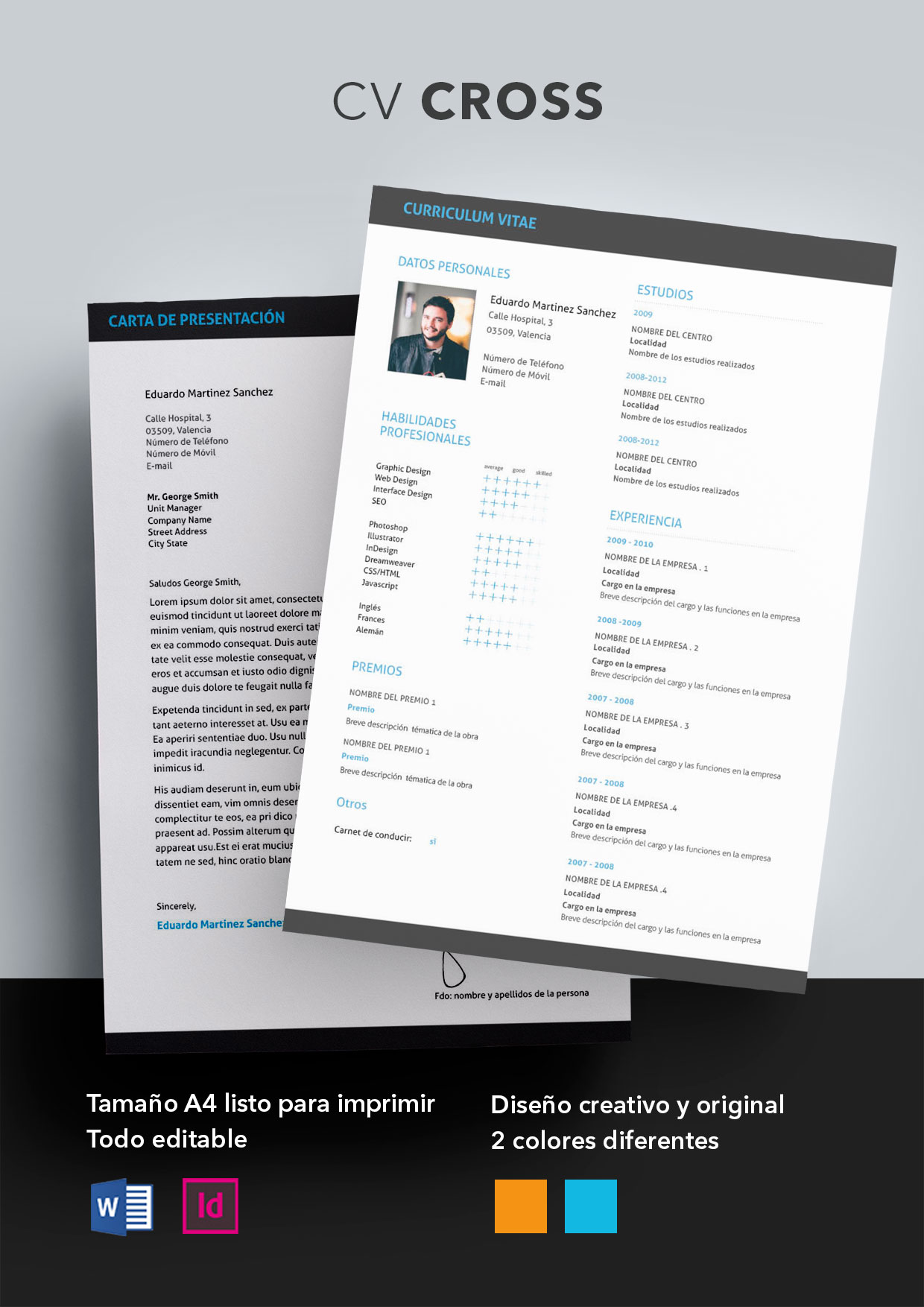 Curriculum Vitae modelo Cross | Plantillas de currículum