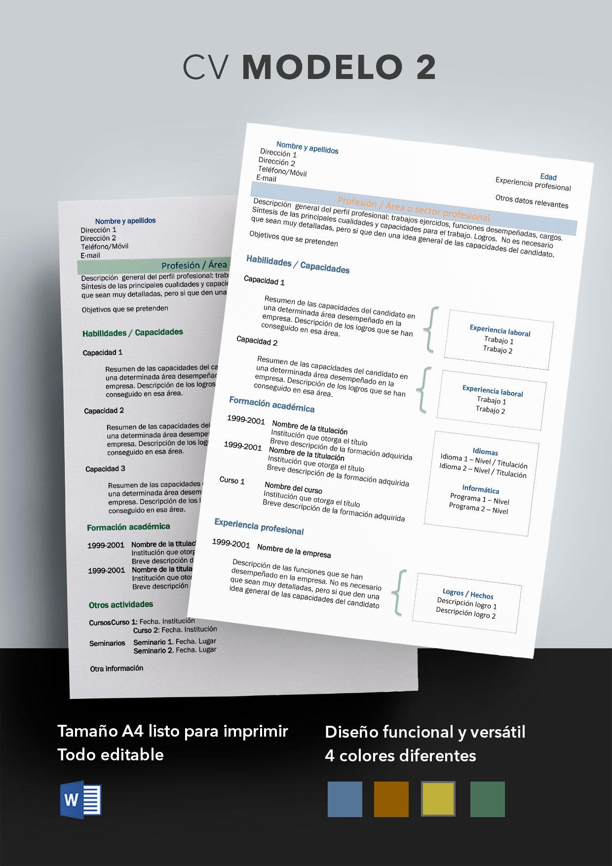Curriculum Vitae Modelo 2 | Plantillas de currículum