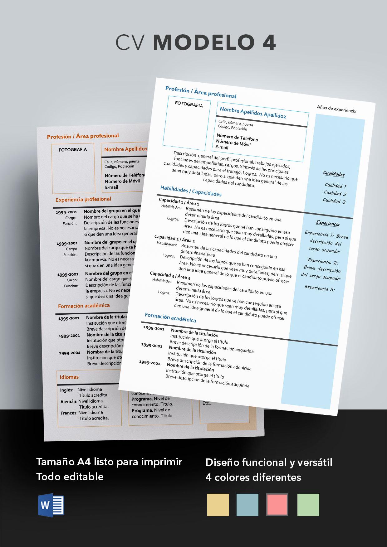 Curriculum Vitae Modelo 4 | Plantillas de currículums
