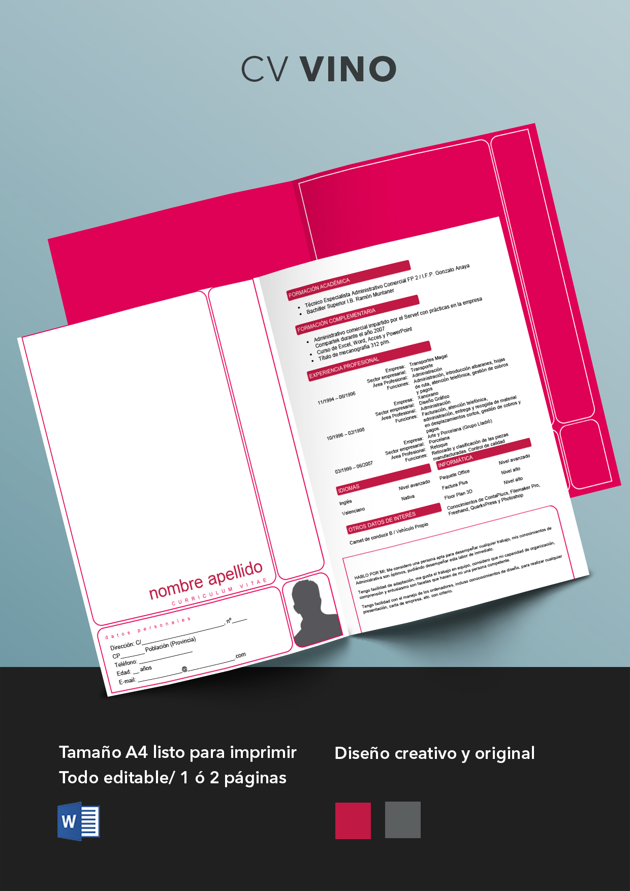 Curriculum Vitae modelo Vino | Plantillas de currículum