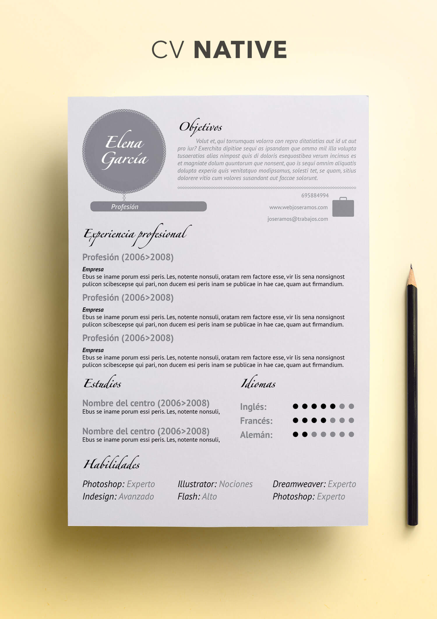 Curriculum Vitae modelo Native | Plantillas de currículum