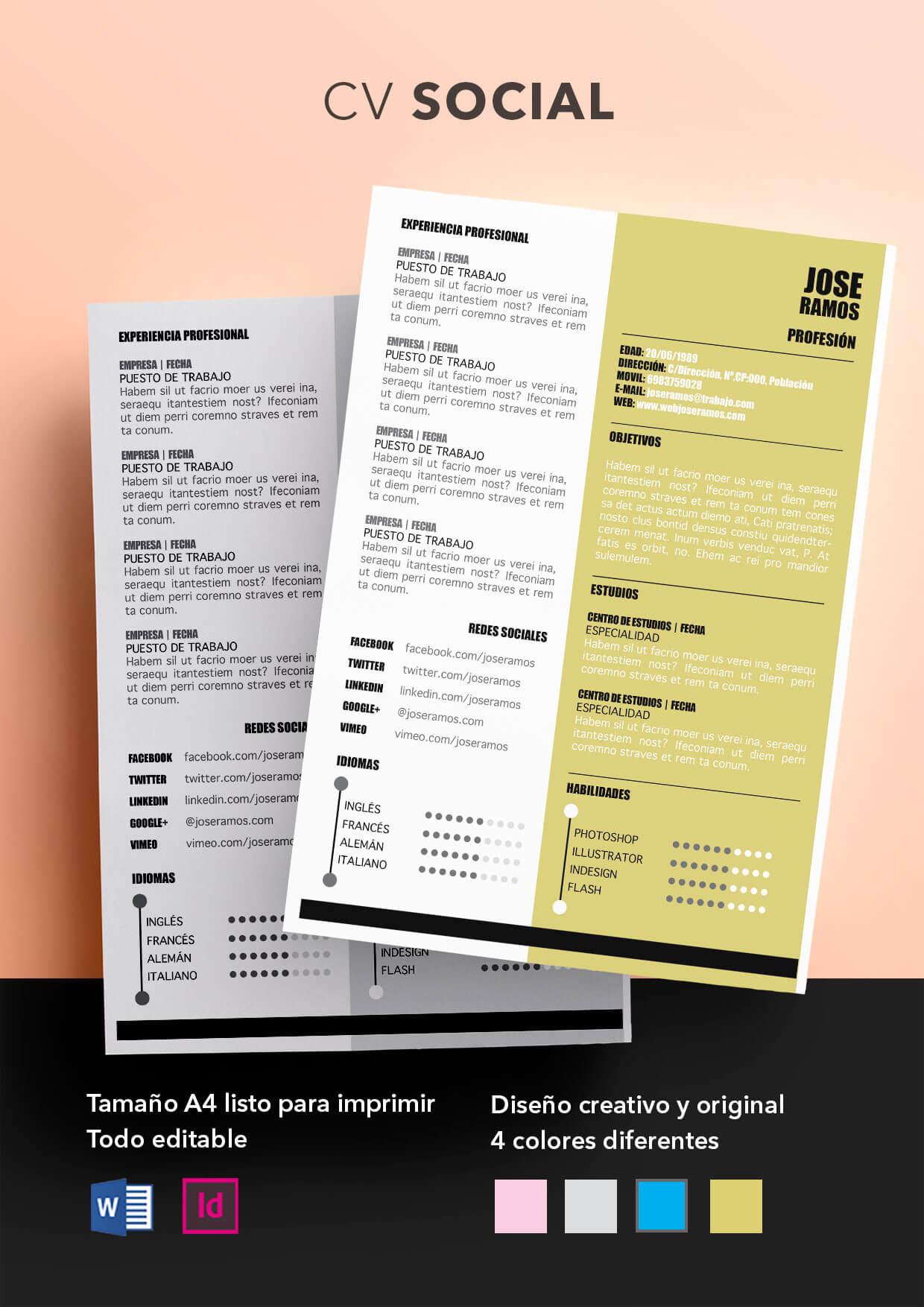 Curriculum Vitae modelo Social | Plantillas de currículum