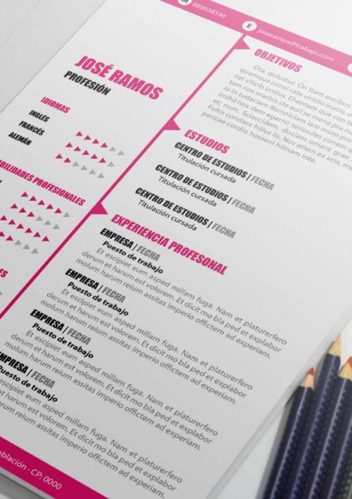 Plantilla curriculum arrow rosa