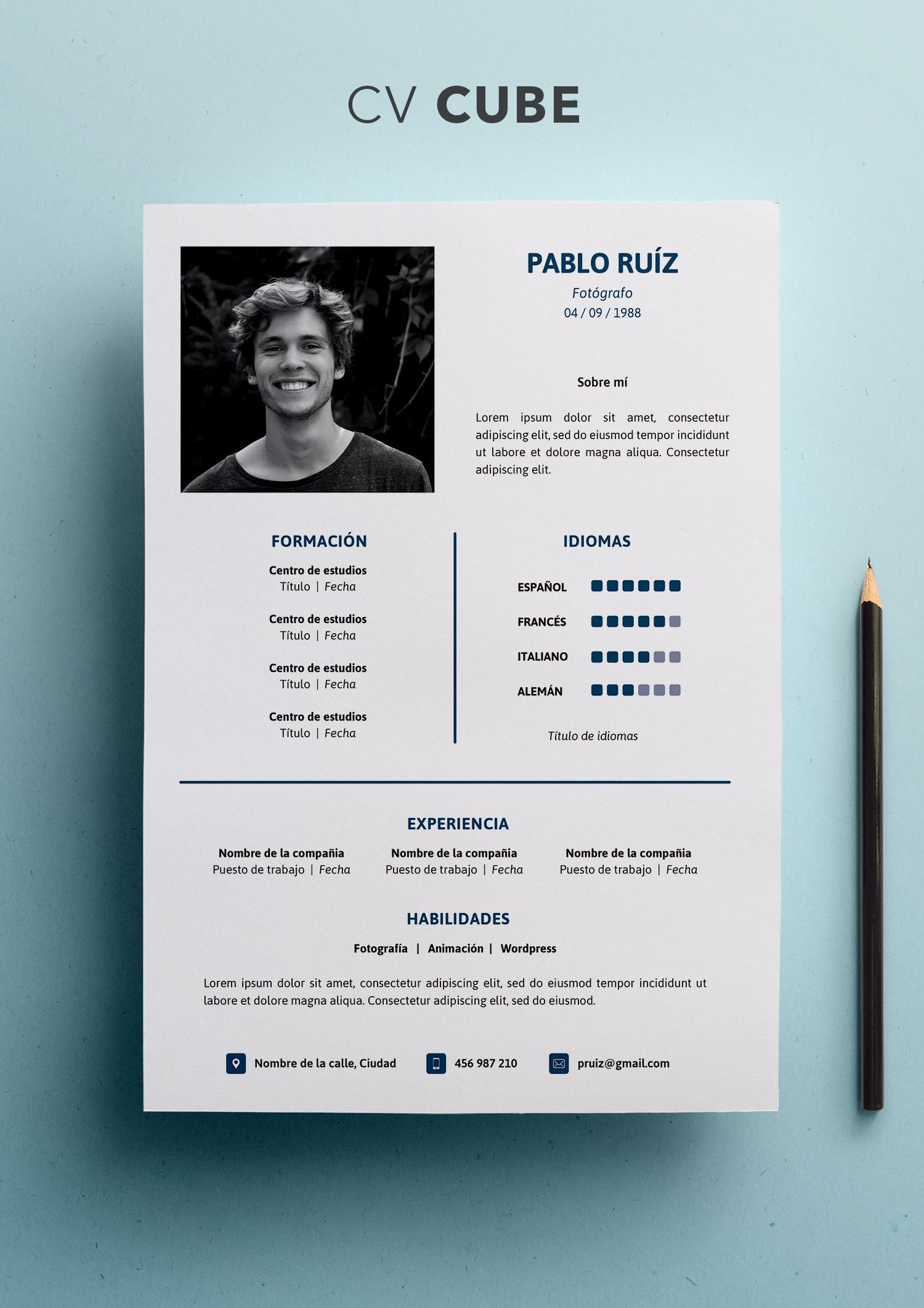 Currículum Vitae Modelo Cube - Shop CV
