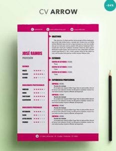 modelo de CV Arrow para imprimir con foto