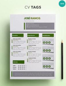 modelo de CV Tags para imprimir con foto